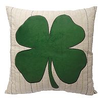 Celebrate St. Patrick's Day Together Clover Applique Throw Pillow