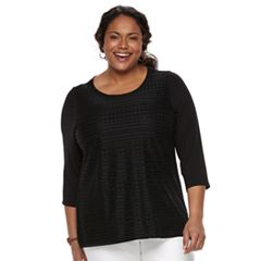 Plus Size Croft & Barrow® Lace-Front Scoopneck Tee