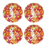 Celebrate Summer Together 4 pc Floral Melamine Dinner Plate Set