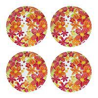 Celebrate Summer Together 4 pc Floral Melamine Dinner Plate Set