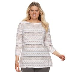 Plus Size Croft & Barrow® Printed Jacquard Boatneck Tee
