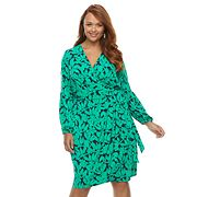 Plus Size Suite 7 Floral Faux-Wrap Dress