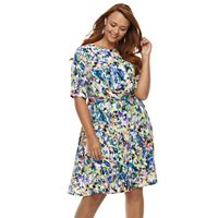 Plus Size Suite 7 Abstract Fit & Flare Dress