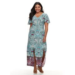 Plus Size Suite 7 Paisley Flutter Maxi Dress