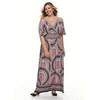 Plus Size Suite 7 Cold-Shoulder Printed Maxi Dress