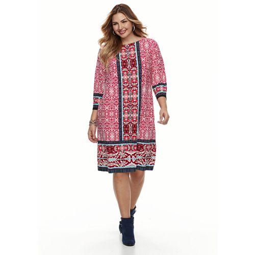 Plus Size Suite 7 Medallion Print Dress