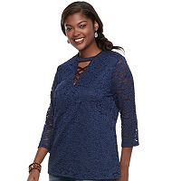 Plus Size Juniors' Liberty Love Lace Crisscross Top
