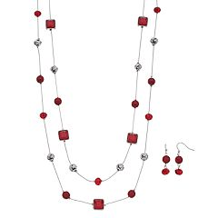 Long Double Strand Necklace & Drop Earring Set
