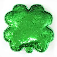 Celebrate St. Patrick's Day Together Clover Shaped Magic Sequin Throw Pillow