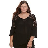 Juniors' Plus Size Liberty Love Lace Yoke Splitneck Top