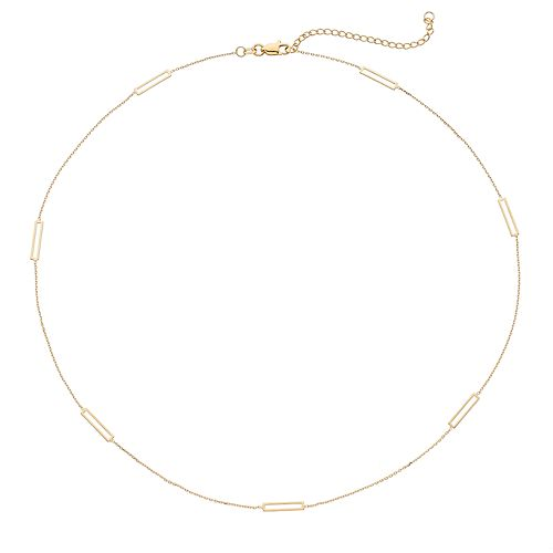 14k Gold Rectangle Station Necklace
