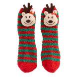 Girls 7-16 Striped Reindeer Slipper Socks