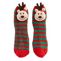 Girls 7-16 Striped Reindeer Slipper Socks