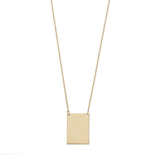14k Gold Rectangle Necklace