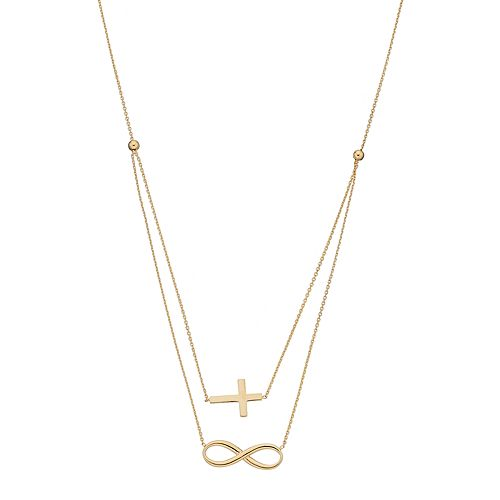 14k Gold Sideways Cross & Infinity Swag Necklace