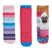 Girls 7-16 3-pk. Pugs & Presents Knee High Socks