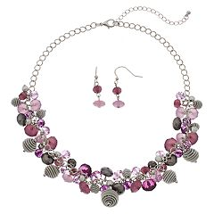 Purple Beaded Cluster Necklace & Drop Earrings Set