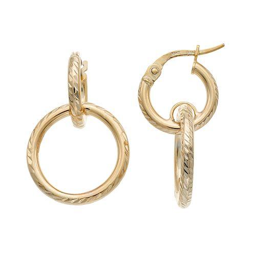 10k Gold Textured Circle Drop Hoop Earrings