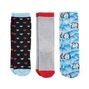 Girls 7-16 3 pkParty Penguins Knee High Socks