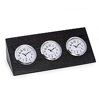 Bey-Berk Wood Triple Time Zone Clock