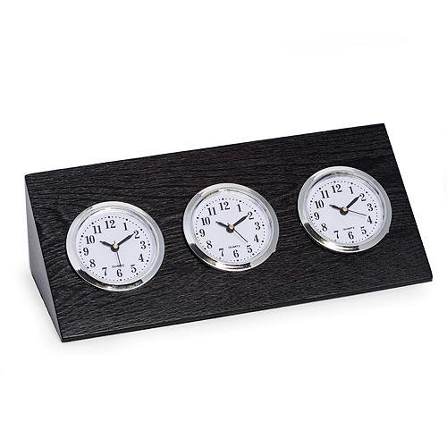 Bey-Berk Wood Triple Time Zone Clock