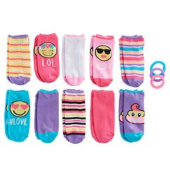 Girls 7-16 10 pkSmiley Face No Show Socks with Ponytail Holders