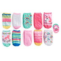 Girls 7-16 10 pkUnicorn No Show Socks with Ponytail Holders