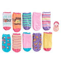 Girls 7-16 10-pk. Foodie No Show Socks with Ponytail Holders