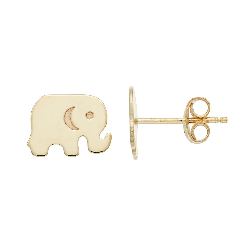 elephant s earrings plated claire gold