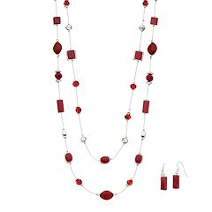 Red Swirling Geometric Double Strand Necklace & Drop Earring Set