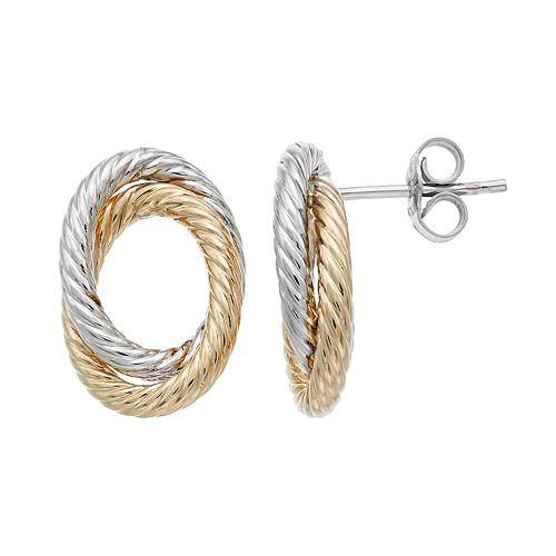 Two Tone 14k Gold Twisted Oval Drop Earrings