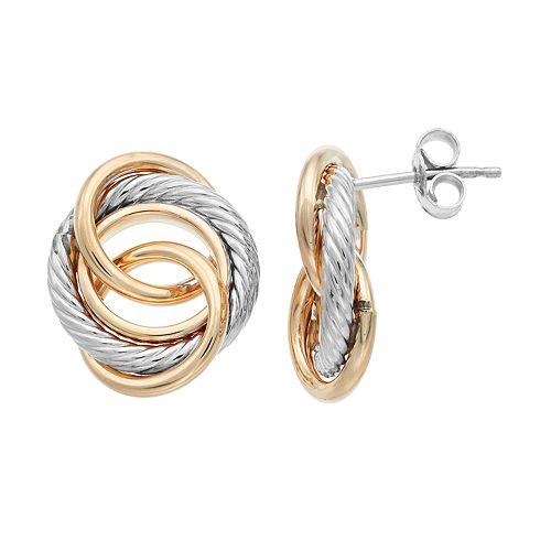 Two Tone 14k Gold Circle Link Drop Earrings