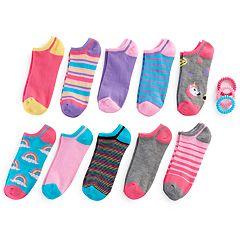 Girls 7-16 10 pkRainbow & Unicorn No Show Socks with Ponytail Holders