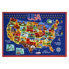 """Smithsonian """"USA"""" Map Rug"""