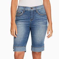 Women's Gloria Vanderbilt Jessa Button-Tab Bermuda Jean Shorts