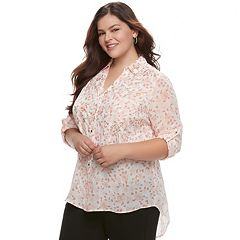 Juniors' Plus Size Candie's® Leaf Split-Back Shirt