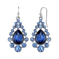 1928 Blue Simulated Crystal Teardrop Earrings