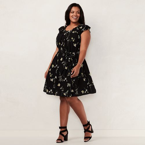 Plus Size LC Lauren Conrad Pleated Shift Dress