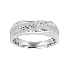 Men's 10k White Gold 1/10 Carat T.W. Diamond Diagonal Striped Ring