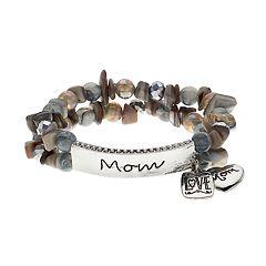 Gray 'Mom' Heart & Square Charm Beaded Stretch Bracelet