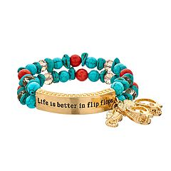 'Life Is Better In Flip Flops' Stretch Bracelet