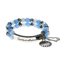 Blue 'Grandma' Heart & Disc Charm Beaded Stretch Bracelet