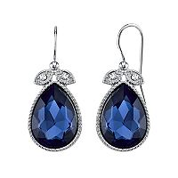 1928 Blue Milgrain Teardrop Earrings