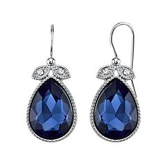 1928 Blue Milgrain Teardrop Earrings