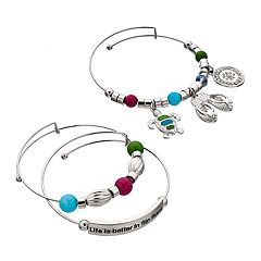 'Life Is Better In Flip Flops' Bangle Bracelet Set