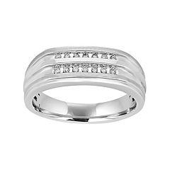 Men's 10k White Gold 1/10 Carat T.W. Diamond Ring
