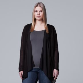 Plus Size Simply Vera Vera Wang Mixed-Media Flyaway Cardigan