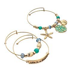 'Life Is A Beach' Bangle Bracelet Set