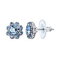 1928 Blue Button Stud Earrings