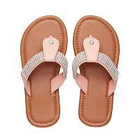 Girls 4-16 T-Strap Rhinestone Flip-Flops